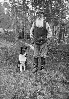 white bearded man & his dog.