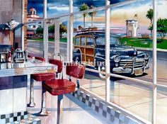 """The Diner"" by Bill Drysdale, Southern California // A 50's diner in Laguna Beach, CA.  The original has been sold. // Imagekind.com -- Buy stunning, museum-quality fine art prints, framed prints, and canvas prints directly from independent working artists and photographers."