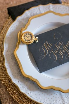 Gold calligraphy | Photo by Heather Cook Elliott Photography | Read more - http://www.100layercake.com/blog/?p=76584