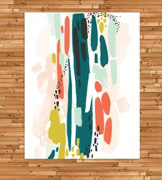 Abstract Brushstrokes Art Print | Filled with colorful brushstrokes, this abstract art print has... | Posters