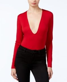 Guess Devri Plunging Long-Sleeve Bodysuit - Red S