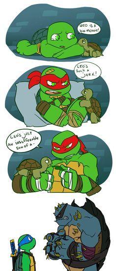 Das ist so süss, dass Spike/Slash Raphael beschützen will, aber dadurch, dass er Leo, Mikey und Donnie fast zu Tode geprügelt hat, hasse ich ihn so sehr!! Sorry Raph <3