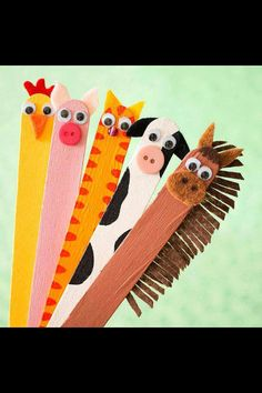 Create your favorite animal character on the head of a popsicle stick. This is especially cute if you are reading a series of books starring the same lovable protagonists. Now the character comes to life every time you mark your page.:)