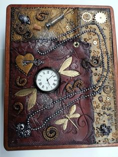 "Curio/ Treasure Box, Polymer Clay Covered Cigar Box w/ Clock, Key, Heart Necklace, Glass bottle with spilled glitter ""Time Flies"" Fimo Clay, Polymer Clay Projects, Polymer Clay Art, Clay Crafts, Diy Altered Books, Altered Cigar Boxes, Book Cover Art, Book Art, Irons"
