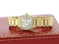Cartier Tortue 2643 Solid 18K Y. Gold Diamonds Automatic Watch W/ Box