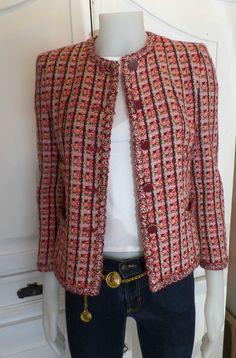 CHANEL FANTASY TWEED JACKET COAT BLAZER 2002 RED SIZE 36 SMALL | Одежда, обувь и аксессуары, Одежда для женщин, Пальто и куртки | eBay!