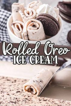 Our homemade Rolled Ice Cream is an easy way to make the fun and delicious treat at home. This homemade ice cream recipe is loaded with Oreo cookies and makes for the perfect rolls of creamy deliciousness in every bite! Ice Cream Bites, Oreo Ice Cream, Ice Cream Treats, Ice Cream Cookies, Ice Cream Desserts, Frozen Desserts, Ice Cream Recipes, Oreo Cookies, Frozen Treats