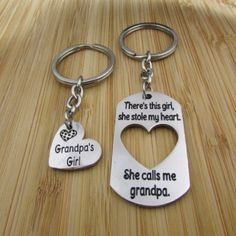 There's This Girl, She Stole My Heart. She Calls Me Grandpa/Grandpa's Girl - Keychains