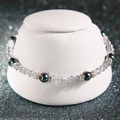 Swarovski Crystal and Pearl Sterling Silver Bracelet in Shadow Crystal by SparkleBunnyFrouFrou on Etsy