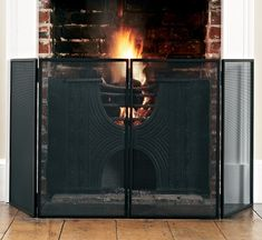 Beautiful Oxford hinged fire guard, hand forged with a hard wearing matt black finish, a stylish, practical and safe addition to your fireside Home Furnishings, Indoor, Fire, Black, Interior, Black People, Furniture, Home Furniture
