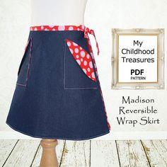 Children sewing pattern PDF, Girls skirt pattern, Wrap skirt pattern, Girls dress pattern, Easy beginner, Madison Skirt