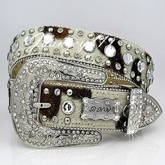 M-L-XL HAIR on HIDE Leather Western Cowgirl Belt BHW Rhinestone Rodeo Bling NEW