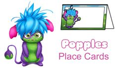Place Cards - Free Fun Party Popples Printables and Activities | SKGaleana
