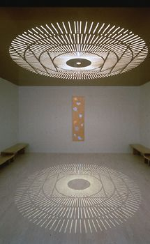 Mandala light in meditation space. Imagine sitting in the center of the circle.