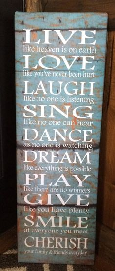 Dance, Live, Laugh, Love, Dream, Cherish, Inspirational Wood Sign or Canvas Wall…