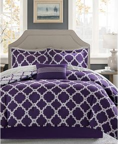 Madison Park Essentials Concord Purple/ Grey Reversible Complete Comforter and Cotton Sheet Set (Queen - 9 Piece) (Cotton/Poly, Geometric) Lavender Bedding, Purple Bedding Sets, Full Comforter Sets, Twin Comforter, Queen Bedding, Bedroom Comforters, Bedroom Drapes, Luxury Bedding Sets, Dorm Bedding