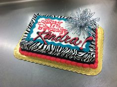 Great Tween Cake with Zebra print. by Stephanie Dillon, LS1 Hy-Vee