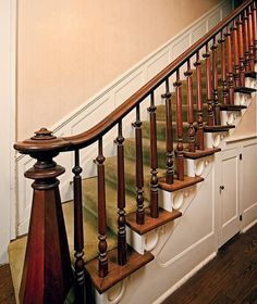 30 Stunning Wooden Stairs Design Ideas For Your Home Wooden Staircase Railing, Wooden Stairs, Staircase Design, Staircase Ideas, Hallway Ideas, Stair Walls, Tile Stairs, House Stairs, Victorian Interiors