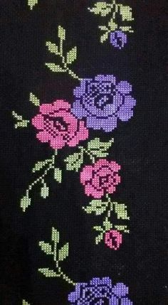 This Pin was discovered by HUZ Cross Stitch Numbers, Cross Stitch Heart, Cross Stitch Borders, Cross Stitch Flowers, Cross Stitch Designs, Cross Stitching, Cross Stitch Embroidery, Embroidery Patterns, Hand Embroidery