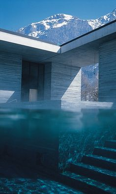 The Therme Vals, by Peter Zumthor. Photo ArchNow, adapted to Pinterest by
