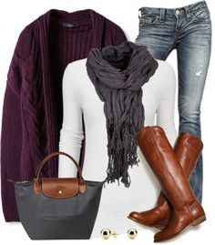 #fall #outfits / Purple Knit Cardigan + Tall Boots