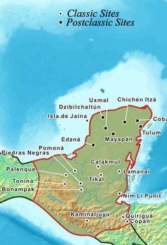 Mayan Capitals Cities Map Ancient Aztecs Olmec Mayan Zapotec