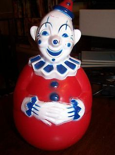 Vintage Roly Poly 1940's Wobbly Plastic Celluloid Clown Toy Rolly Polly Red Blue