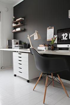 workspace, black room, home office, scandinavian interior, stylizimo