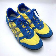 promo code 1708a c0208 Asics Onitsuka Tiger Size 14 Mens Yellow Blue Sneaker Run Shoes Vintage Rare