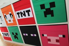 Minecraft storage boxes - the perfect finishing touches for my son's Minecraft theme bedroom! Minecraft Storage, Minecraft Box, Minecraft Crafts, Minecraft Party, Minecraft Classroom, Minecraft Skins, Minecraft Buildings, Boys Minecraft Bedroom, Boy Room