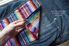DIY jean jacket with pops of color. love.