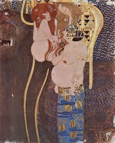 Les 3 Gorgones 1902 Gustave KLIMT       Gustav Klimt, né en 1862 à Baumgarten près de Vienne, mort en 1918 à Vienne, est un peintre symboliste autrichien, et l'un des membres les plus en vue du mouvement Art nouveau de Vienne.       Peintre de compositions à personnages, sujets allégoriques, figures, nus, portraits et paysages.