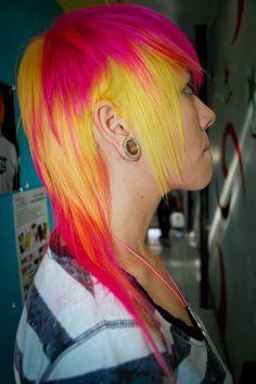 hair, hair color, multi-colored hair, yellow hair, yellow, pink hair, pink