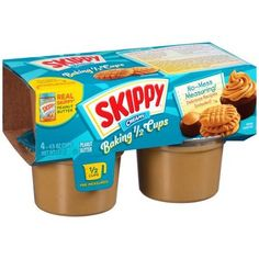 http://www.worldgrocerystoreandmore.ecrater.com/p/23939912/ Skippy CREAMY Baking 4 -4.5 oz Cups Peanut Butter  •No-mess measuring •Pre-measured 1/2 cups •Real Skippy peanut butter •Delicious recipes included •Good source of vitamin E •Gluten free