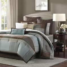 Madison Park Lincoln Square 8 Piece Comforter Set, Queen, Blue/Brown: For an updated classic color block bedding collection, you can't go wrong with Lincoln square. The color blocks are in shades of brown, grey and light blue. Plaid Comforter, Blue Comforter Sets, Bedding Sets, Brown Comforter, Queen Bedding, Blue Bedding, Gold Bedding, Bed Bath & Beyond, Console