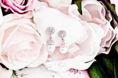Pearl Swarovski Crystals Earrings Wedding. $45.00, via Etsy.