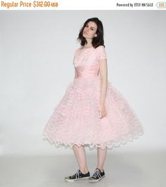 ON SALE ends Nov 10th - Vintage 1950s Prom Dress - 50s pastel pink lace party dress- The Cupcake Dress   - WD0187 by aiseirigh on Etsy https://www.etsy.com/listing/232382894/on-sale-ends-nov-10th-vintage-1950s-prom