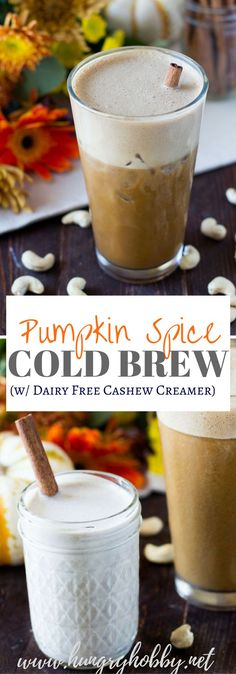 This Pumpkin Spice Cold Brew is made by blending a delicious pumpkin spice cashew cream, cold brew, and a scoop of collagen for a delightful and nutritious treat! Dairy and Gluten Free  via @hungryhobby