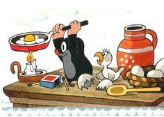 Krtek frying an egg Children's Book Illustration, Graphic Design Illustration, La Petite Taupe, Children's Picture Books, Friends Tv Show, Childhood Friends, Mole, Fine Art Paper, Cartoon Characters