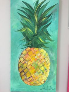 Whimsical colorful pineapple painting on turquoise by ShariLink