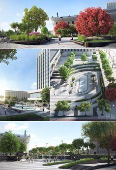 City Square Reconstruction Concept.-------Architects:Bashmak DmitryRoshchencko Roman-------Full CGI