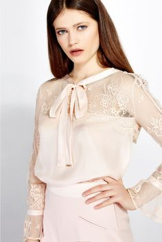 Lace and silk blouse