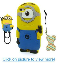 DD(TM) single Eye 3D Cartoon Cute Despicable Me 2 Minions Henchmen Soft Silicone Case Skin Protective Cover for Apple iPhone 5C with 3D Silicone Bow-knot Anti-Dust Plug and Two Eyes Despicable Me Minions Bookmark