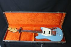 This 1966 FenderMustangis inabsolutelyamazingcondition to be 47 years old!We obtained this guitar from the original owner who bought it new in 1967.This guitar is finished in the Ultra-Rare Custom Color Daphne Blue, and sports a thick Brazilian Rosewood Slab Fingerboard.Frets in great condition along with the action, tone and overallplay ability.The case is also worth mentioning as all the latches work smoothly and properly. I'll let the pictures speak for themselves, as well as…