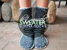 Whip up a pair of cozy slipper-socks from an unwanted sweater with this easy DIY; no sewing machine required!