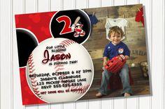 Mickey Mouse Baseball Invitation