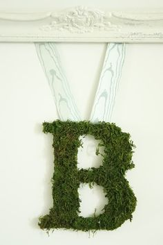 Moss covered letter B.