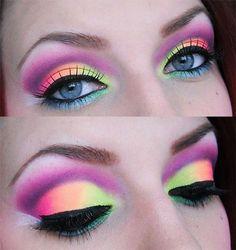 Neon eye makeup! crazy but kinda cool