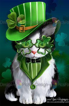 Irish cat - Illustration store PicsForDesign.com. PSP tubes, PSD illustrations, Vector illustrations. Cute Funny Animals, Cute Cats, Fete Saint Patrick, St Patricks Day Wallpaper, Happy St Patricks Day, Cat Drawing, Whimsical Art, Animal Paintings, Belle Photo