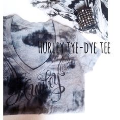 •Hurley• Tie-Dye V-Neck Tee• Super cute •Hurley• gray & black Tie-Dye V-neck Tee. Worn very lightly. Excellent condition. Says Hurley in black on the front..with Angel wings design. Size medium. Will also fit size small. Very flattering fit. Adorbs under an oversized cardigan sweater with your Fav distressed jeans, for a cool, casual & stylish Look. Hurley Tops Tees - Short Sleeve